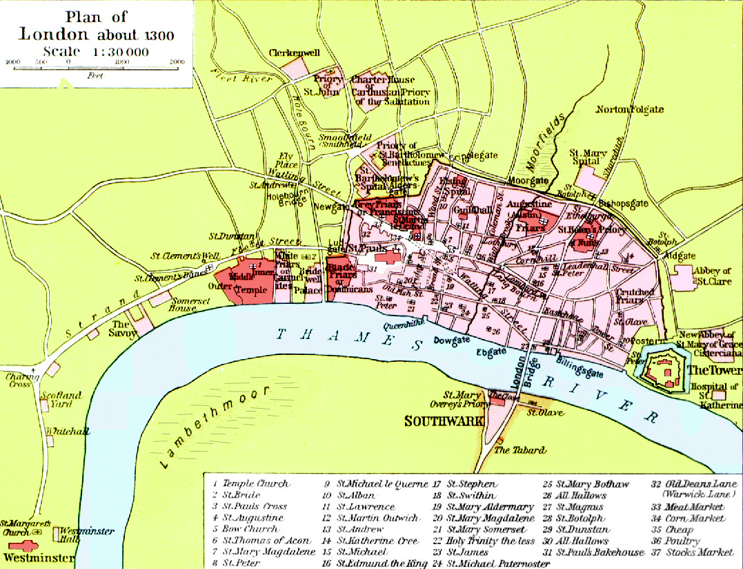 Map Of London England And Surrounding Area.Medieval London Maps