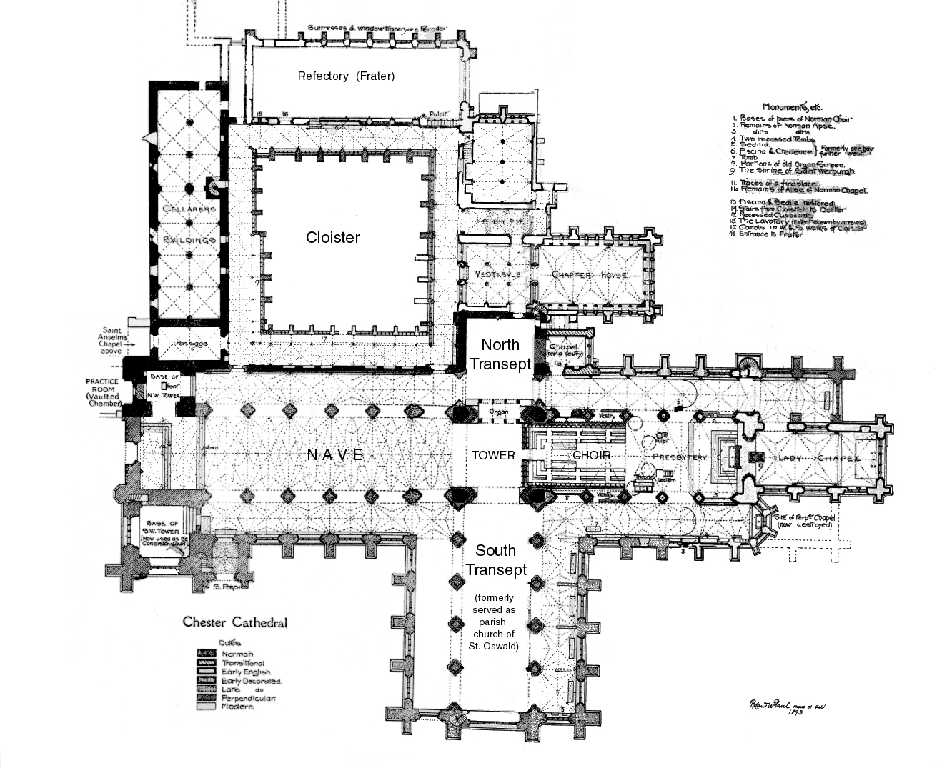 Gothic Church Floor Plan Medieval Chester Abbey Plans