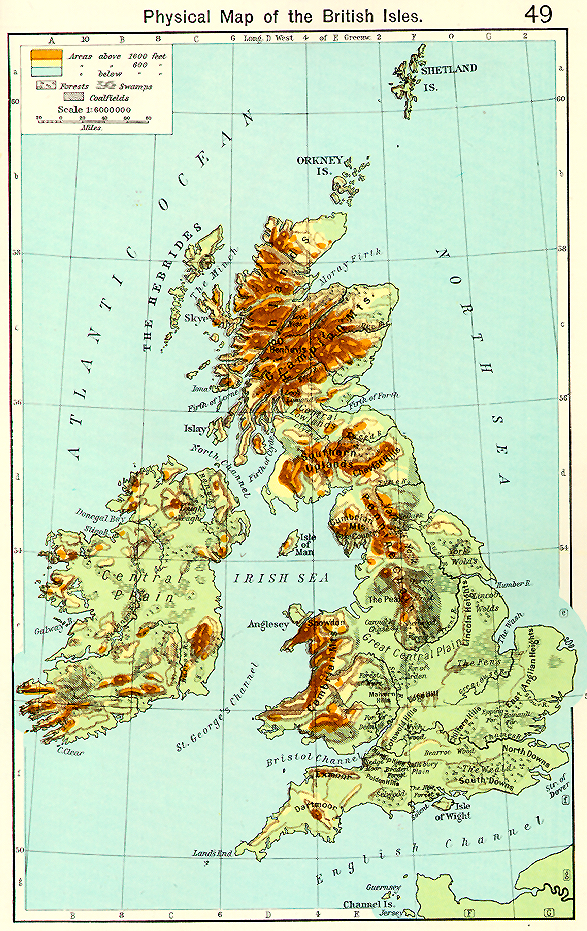 Geographic Map Of England.Medieval Britain General Maps
